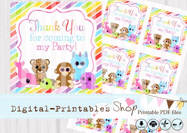 Glittery eyes cute Animals 3inch thank you shopkopie
